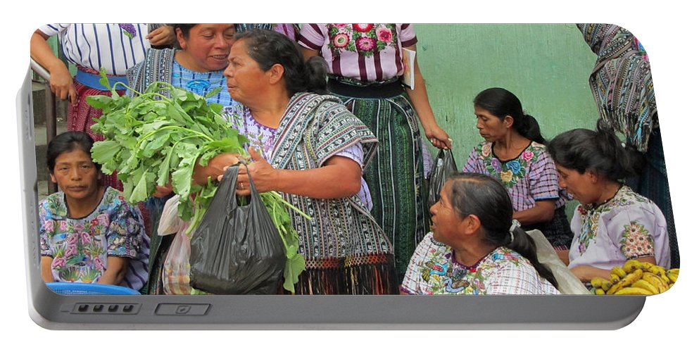 Guatemala Portable Battery Charger featuring the photograph Women At The Chichicastenango Market by Elizabeth Rose