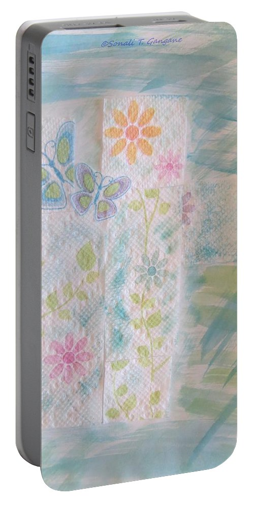 A Card To Greet Portable Battery Charger featuring the mixed media Wonderful Time by Sonali Gangane