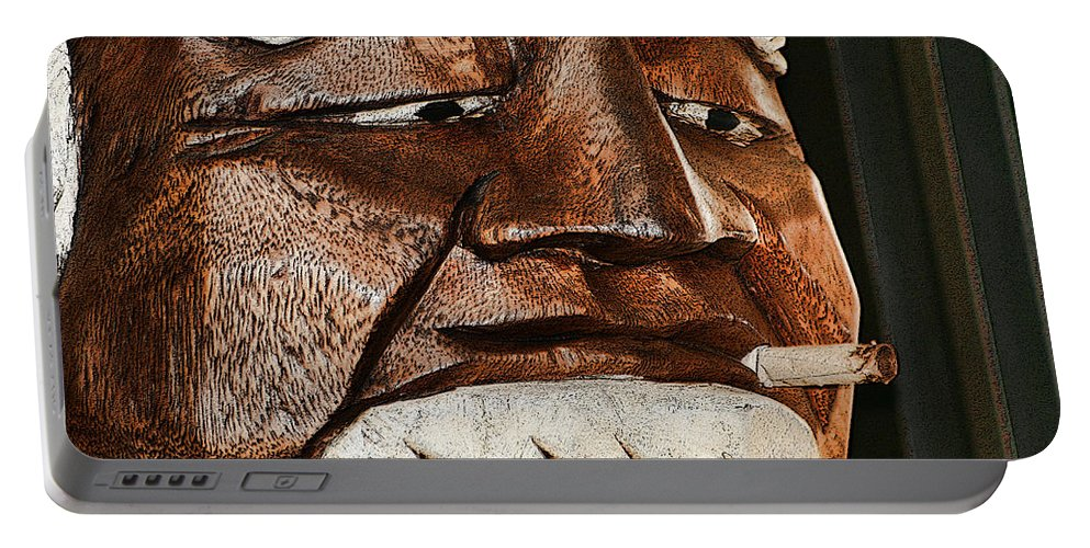 Carved Portable Battery Charger featuring the photograph Wooden Head With Cigarette by Kathy Clark