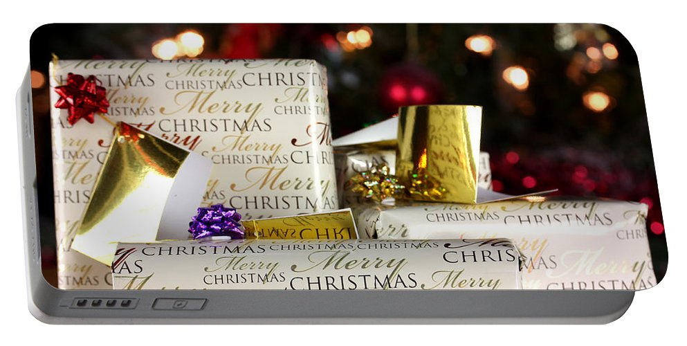 Anniversary Portable Battery Charger featuring the photograph Wrapped Gifts With Tags by Simon Bratt Photography LRPS