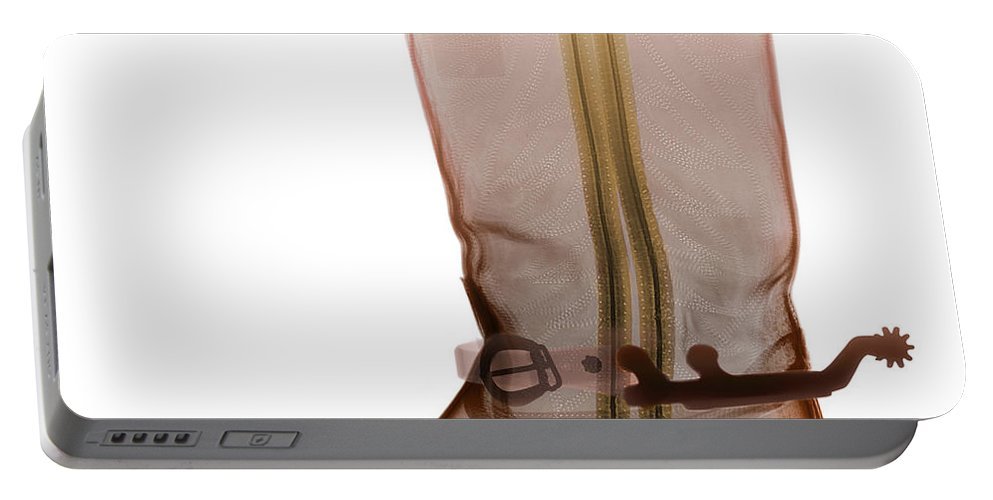 X-ray Portable Battery Charger featuring the photograph X-ray Of Cowboy Boot by Ted Kinsman