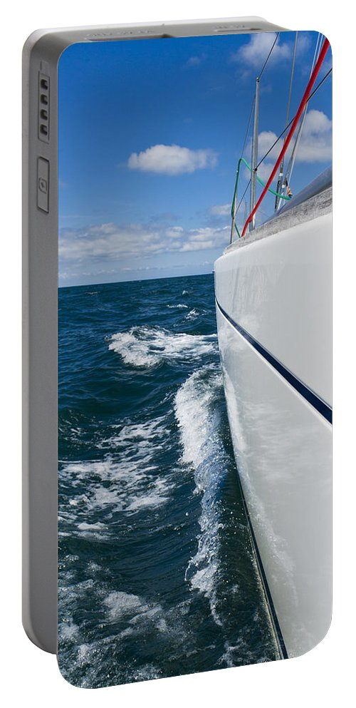 Blue Portable Battery Charger featuring the photograph Yacht Lines by Gary Eason