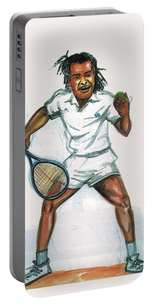 Portraits Portable Battery Charger featuring the painting Yannick Noah by Emmanuel Baliyanga