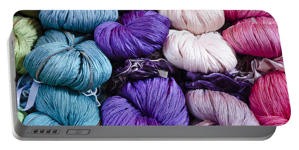 Multi-colored Portable Battery Charger featuring the photograph Yarn by Mats Silvan
