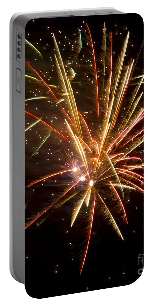 Fireworks Portable Battery Charger featuring the photograph Yellow And Red Fireworks by Darleen Stry