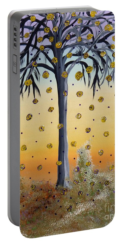 Yellow Roses Portable Battery Charger featuring the painting Yellow-blossomed Wishing Tree by Alys Caviness-Gober