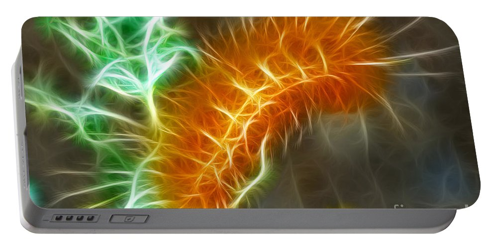 Fine Art Photography Portable Battery Charger featuring the photograph Yellow Caterpillar Fractal by Donna Greene