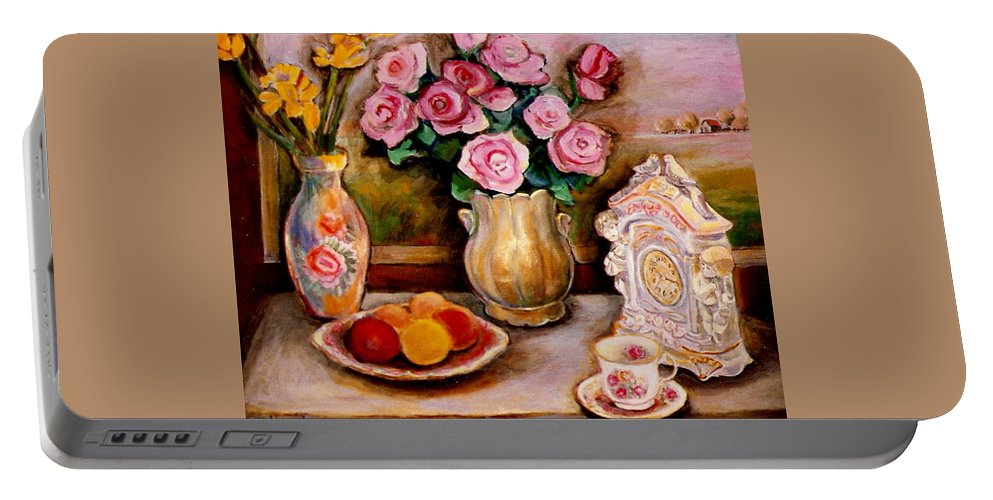 Beautiful Roses In A Dining Room Setting Portable Battery Charger featuring the painting Yellow Daffodils Red Roses Peaches And Oranges With Tea Cup by Carole Spandau