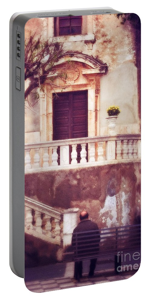 People Portable Battery Charger featuring the photograph Yellow Flowers In A Vase In Taormina Sicily by Silvia Ganora