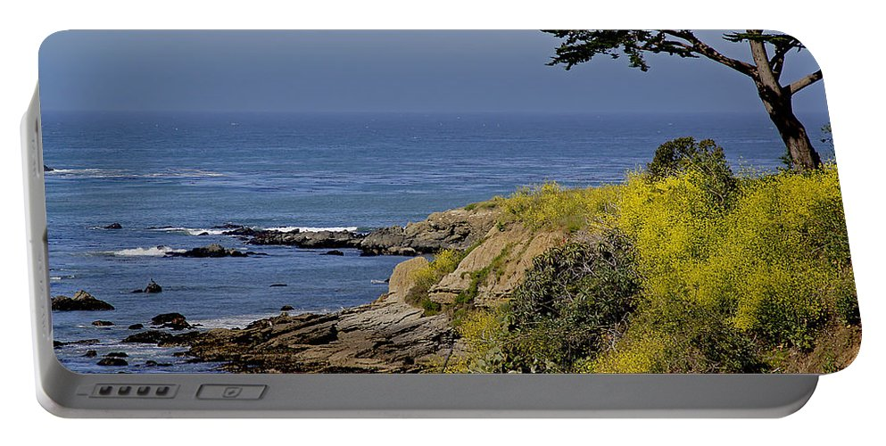Central Coast Portable Battery Charger featuring the photograph Yellow Flowers On The Central California Coast by Mick Anderson