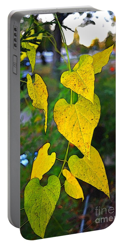Leaves Portable Battery Charger featuring the photograph Yellow Heart Leaves Photoart I by Debbie Portwood