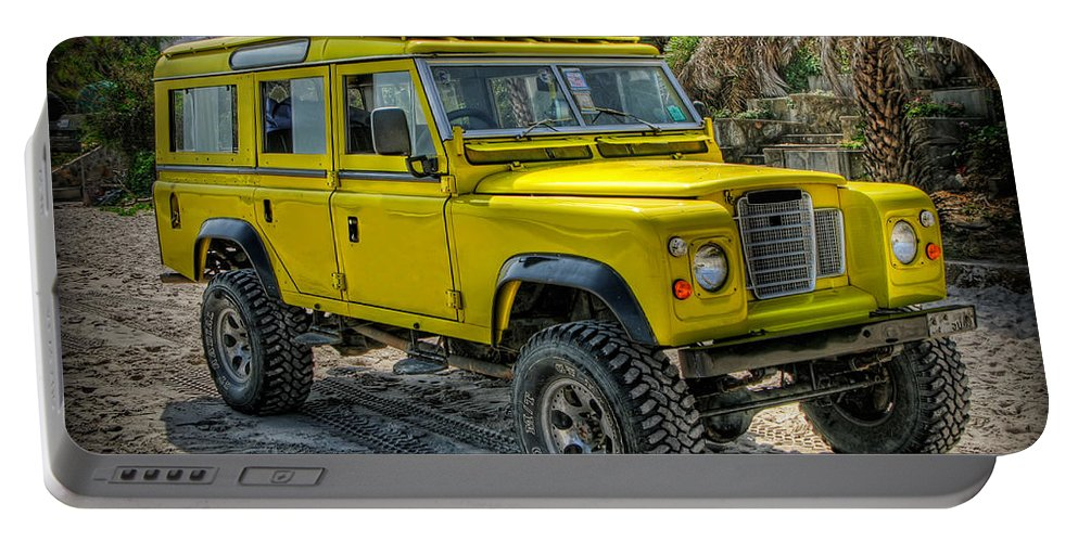 Jeep Portable Battery Charger featuring the photograph Yellow Jeep by Adrian Evans