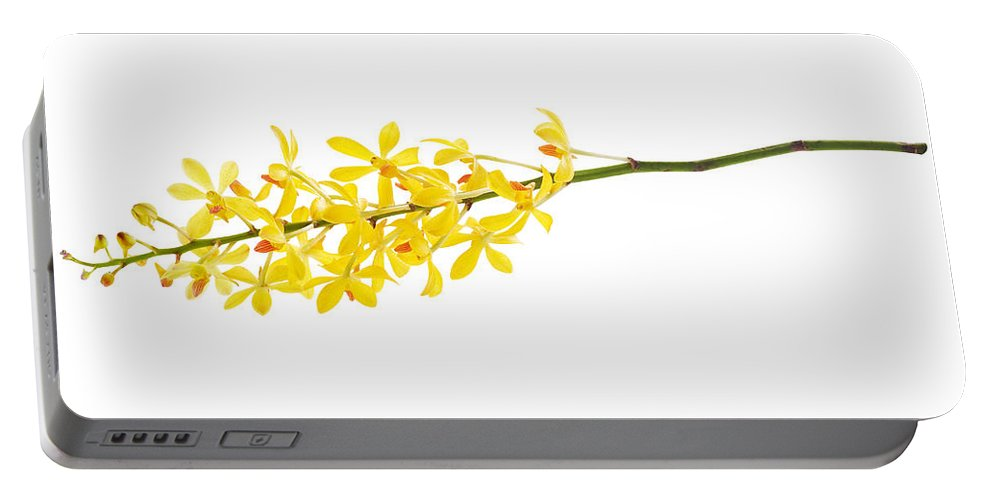 Spa-treatment Portable Battery Charger featuring the photograph Yellow Orchid Bunch by Atiketta Sangasaeng