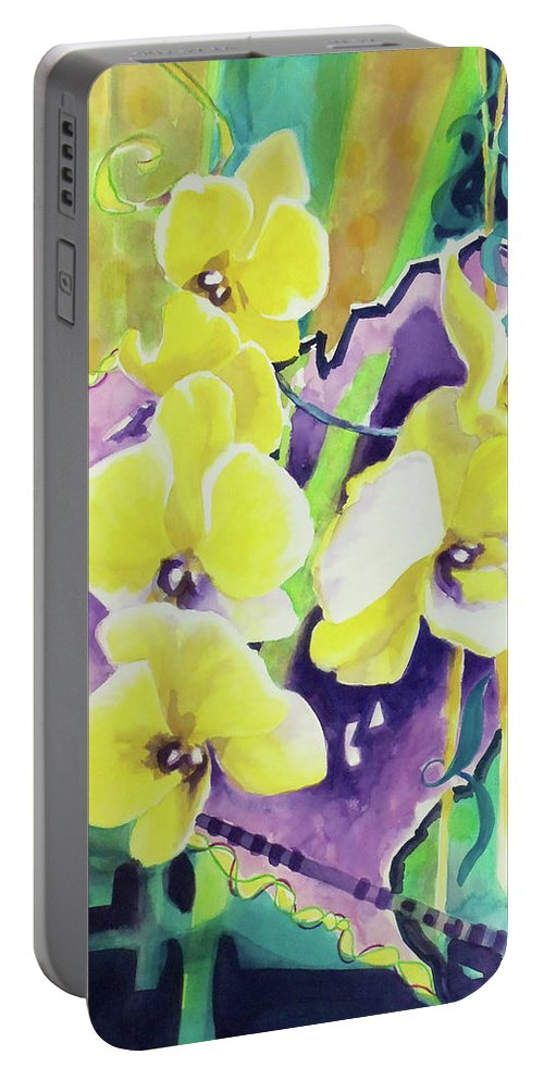 Paintings Portable Battery Charger featuring the painting Yellow Orchids Of The Heart by Kathy Braud