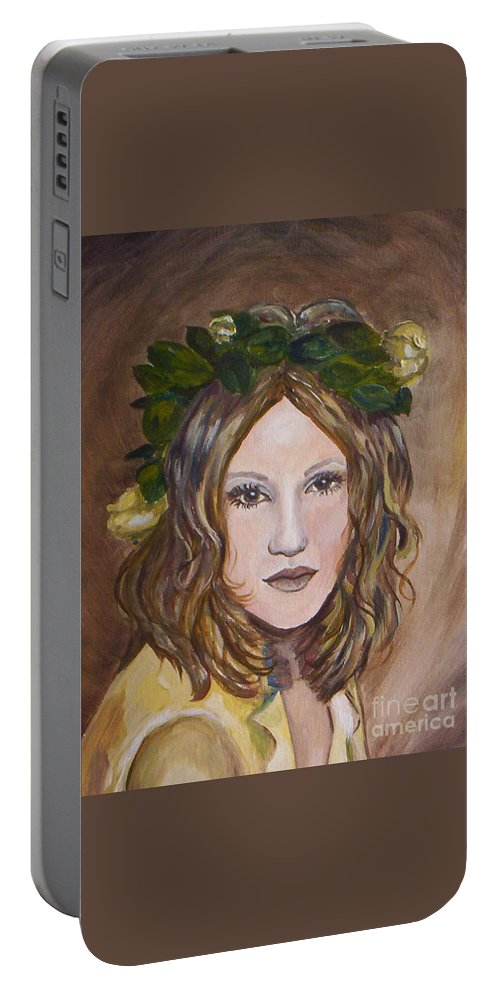 Portrait Portable Battery Charger featuring the painting Yellow Rose I I by Julie Brugh Riffey