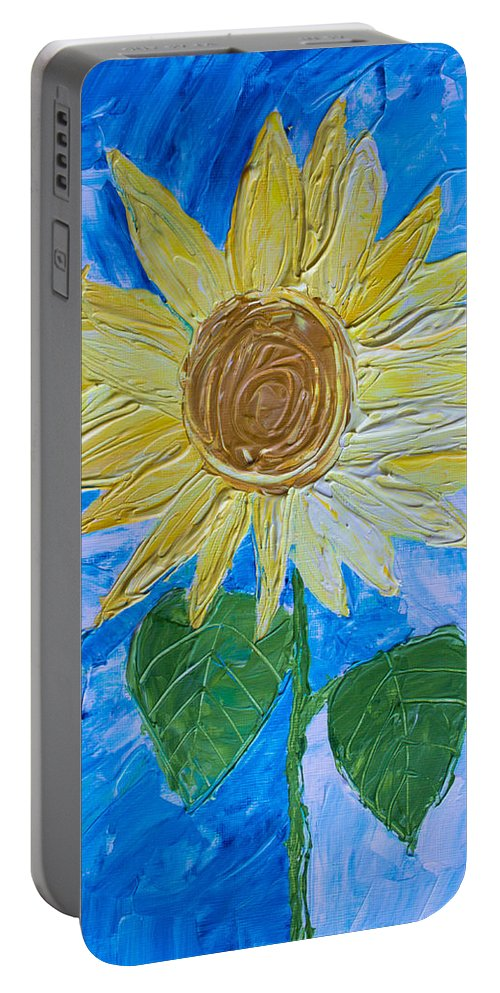 Art Portable Battery Charger featuring the painting Yellow Sunshine by Heidi Smith