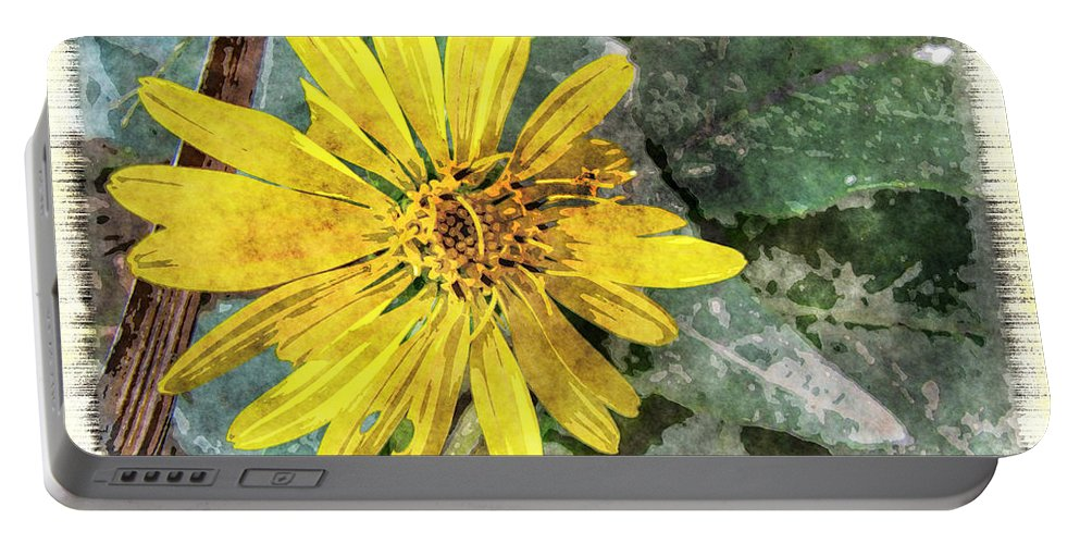 Nature Portable Battery Charger featuring the digital art Yellow Wildflower Photoart by Debbie Portwood