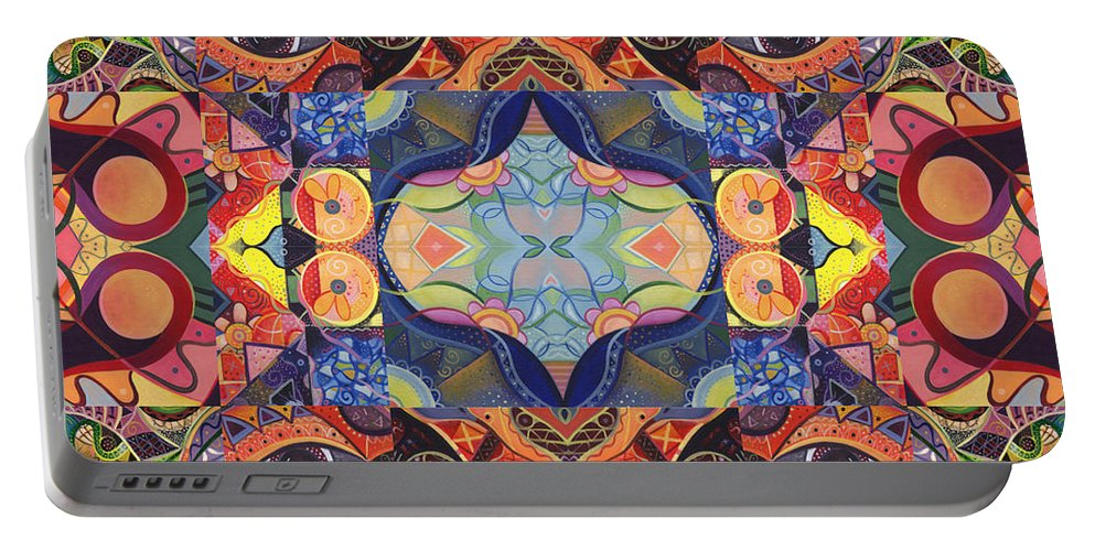 Abstract Portable Battery Charger featuring the digital art Yes You Can by Helena Tiainen