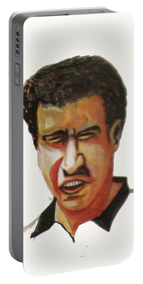 Sports Portable Battery Charger featuring the painting Younes El Aynaoui by Emmanuel Baliyanga