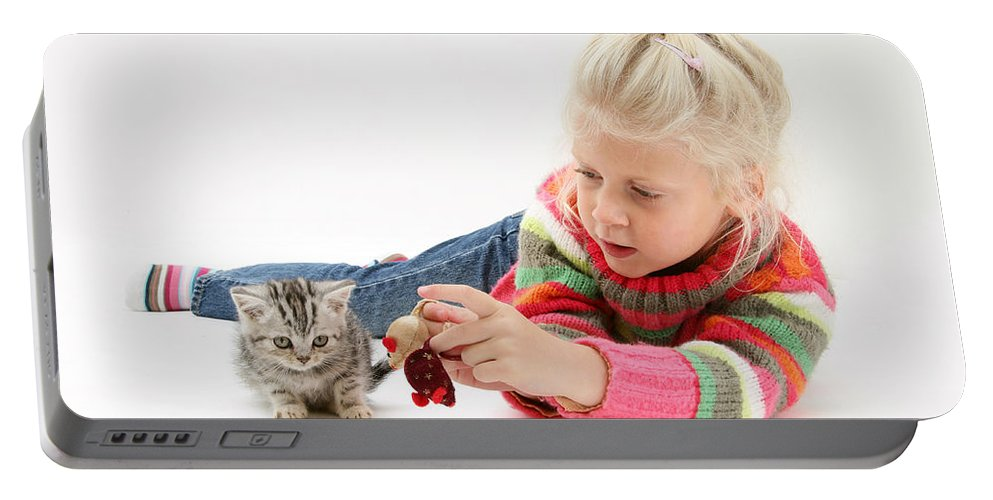 Nature Portable Battery Charger featuring the photograph Young Girl With Silver Tabby Kitten by Mark Taylor