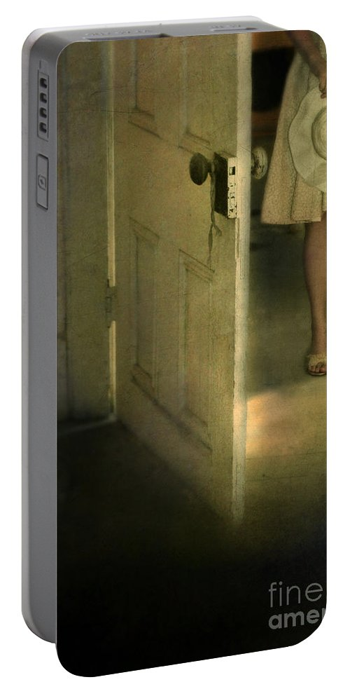 Woman Portable Battery Charger featuring the photograph Young Lady By Open Door by Jill Battaglia