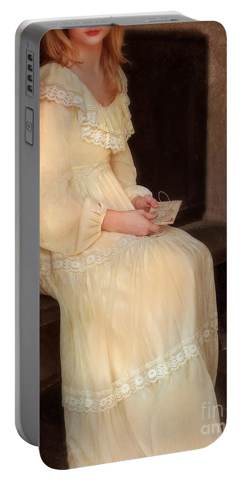 Lady Portable Battery Charger featuring the photograph Young Lady In Yellow Gown With Letters by Jill Battaglia