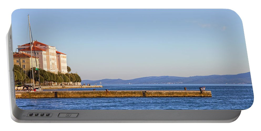 Zadar Portable Battery Charger featuring the photograph Zadar Pier On The Adriatic Sea by Artur Bogacki