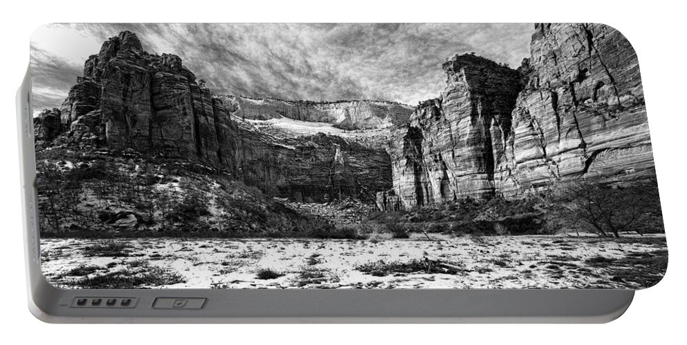 Mountain Portable Battery Charger featuring the photograph Zion Canyon - Bw by Christopher Holmes