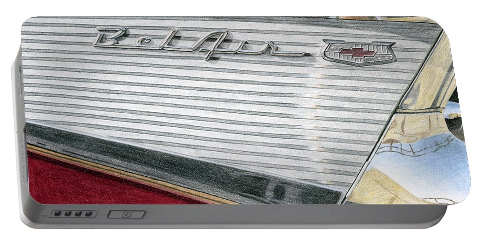 Classic Portable Battery Charger featuring the drawing 1957 Chevrolet Bel Air Convertible by Rob De Vries