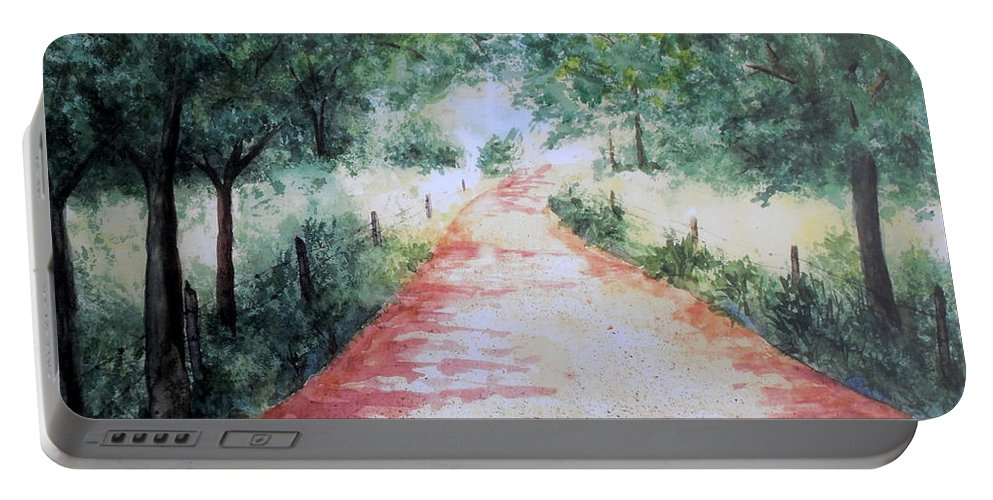 Country Road Portable Battery Charger featuring the painting A Country Road by Vicki Housel