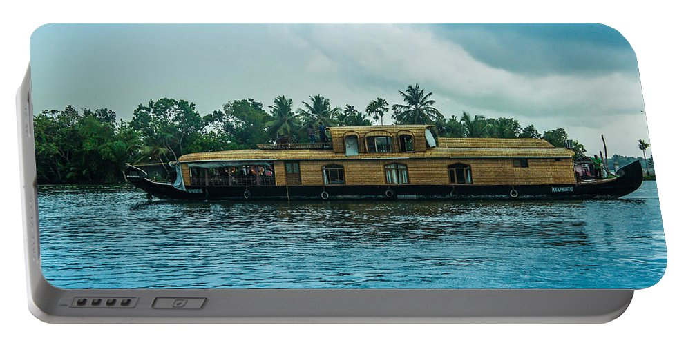 Kerala Portable Battery Charger featuring the photograph A House Boat Around The Backwaters In Alleppey, Kerala, India by Art Spectrum