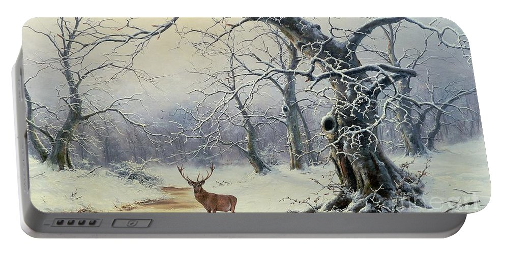 Winter Scene; Stag; Deer; Snow Portable Battery Charger featuring the painting A Stag In A Wooded Landscape by Nils Hans Christiansen