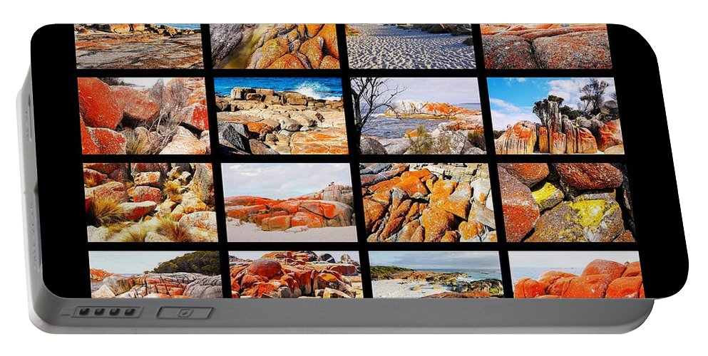 ' Australia Rocks ' Series By Lexa Harpell Portable Battery Charger featuring the photograph ' Australia Rocks ' - Bay Of Fires - Tasmania by Lexa Harpell