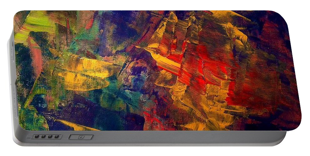 Abstract Portable Battery Charger featuring the painting Autumn Night by Elle Justine