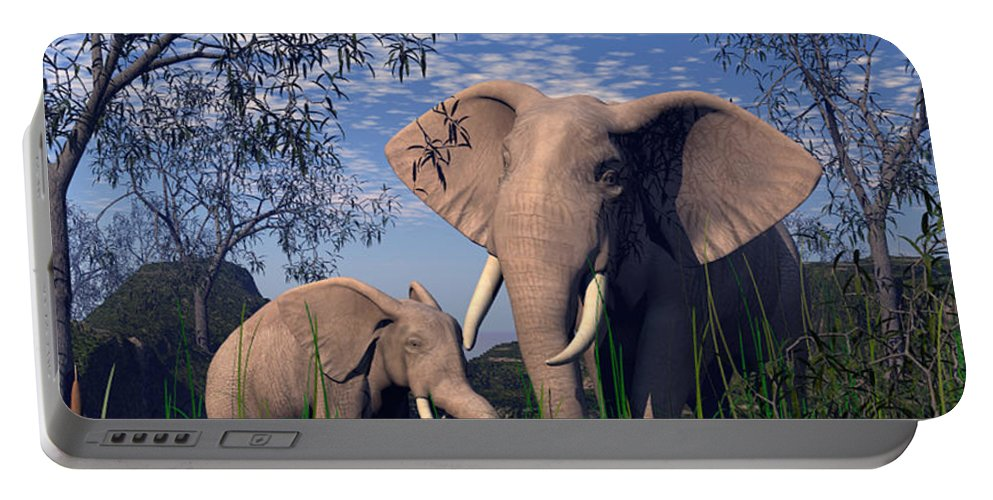 Elepant Portable Battery Charger featuring the digital art Baby Elepant An Mother At A Pond by John Junek