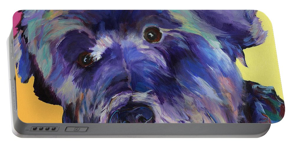Schnauzer Acrylic Painting Portable Battery Charger featuring the painting Beau by Pat Saunders-White