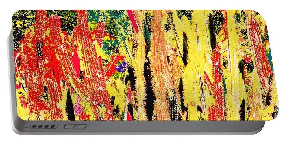 Cactus Portable Battery Charger featuring the digital art Bridgestone Cacti by Ian MacDonald