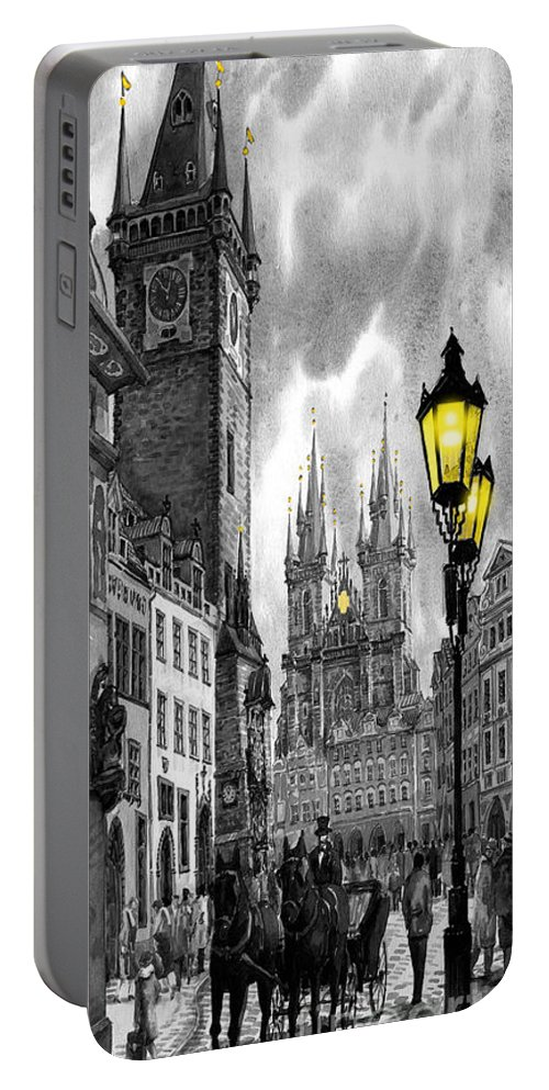 Geelee.watercolour Paper Portable Battery Charger featuring the painting Bw Prague Old Town Squere by Yuriy Shevchuk
