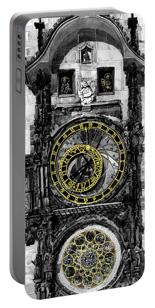Geelee.watercolour Paper Portable Battery Charger featuring the painting Bw Prague The Horologue At Oldtownhall by Yuriy Shevchuk