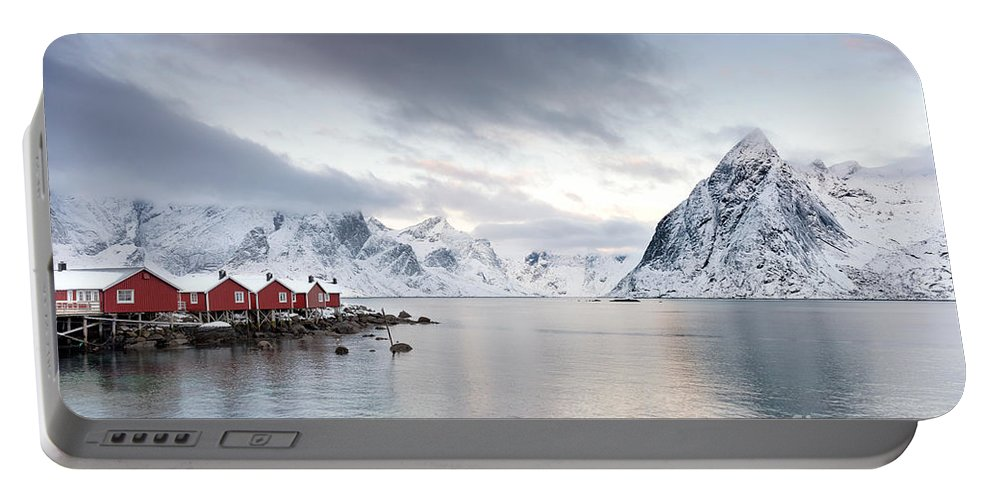 Landscape Portable Battery Charger featuring the photograph Dawn At Hamnoy On The Lofoten Islands by Richard Burdon
