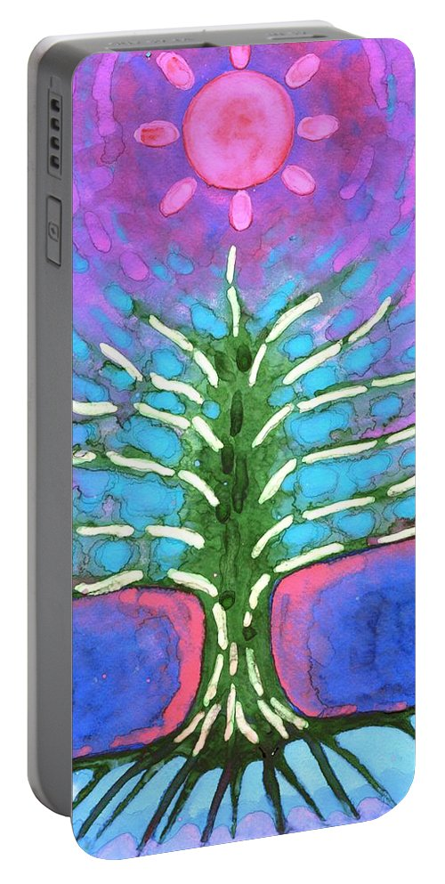 Colour Portable Battery Charger featuring the painting Electric Tree by Wojtek Kowalski