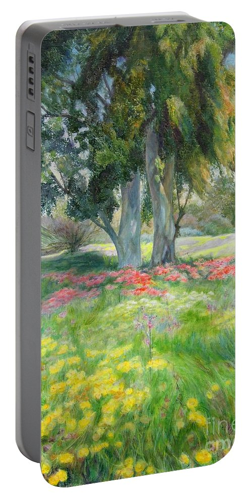Artist Maya Bukhin Portable Battery Charger featuring the painting Eucalyptus by Maya Bukhina