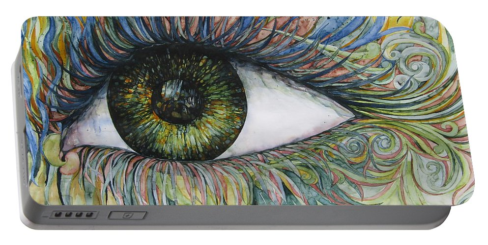 Watercolour Portable Battery Charger featuring the painting Eye For Details by Kim Tran