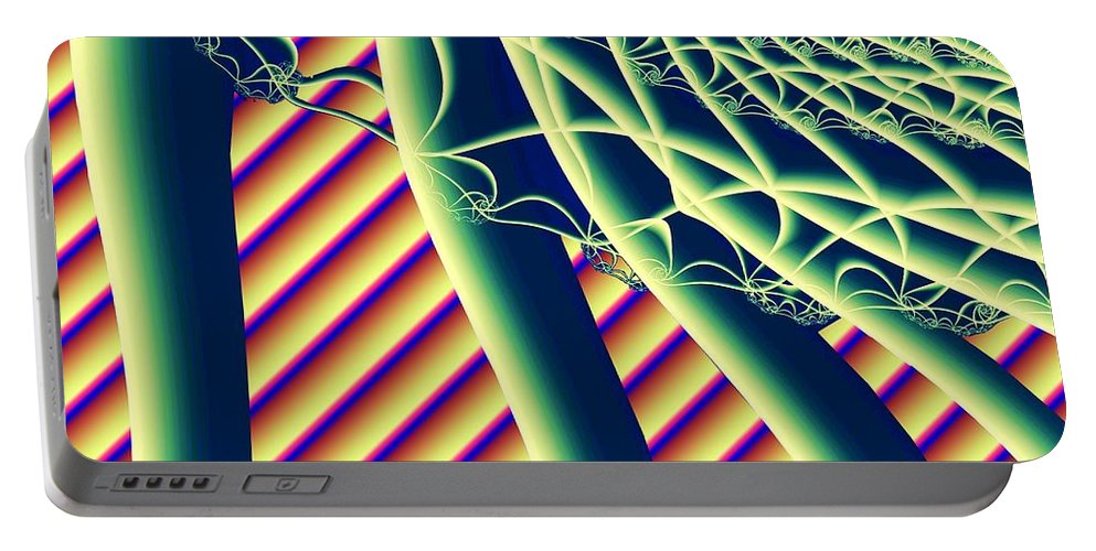 Fractal Portable Battery Charger featuring the digital art Fabaceae by Ron Bissett