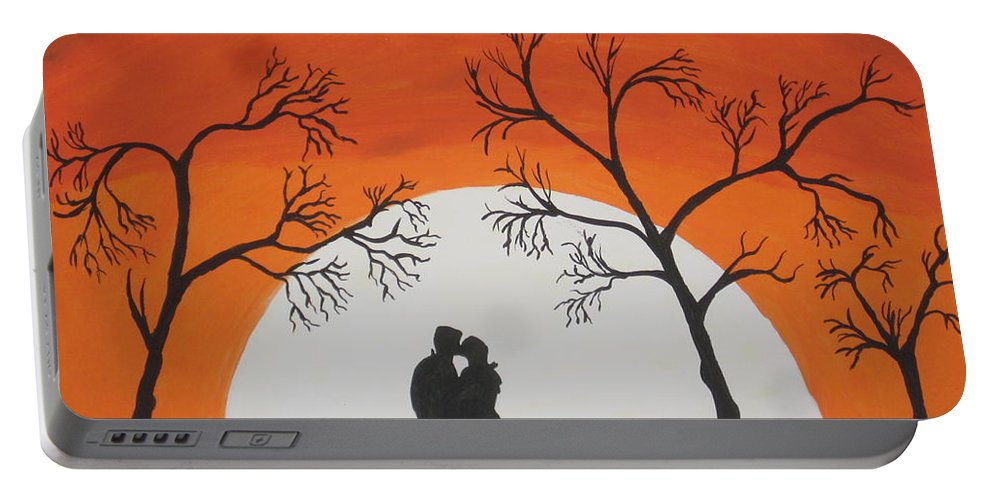 Silhouette Portable Battery Charger featuring the painting First Kiss by Jeffrey Koss