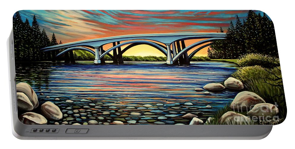 Folsom Bridge Portable Battery Charger featuring the painting Folsom Bridge by Elizabeth Robinette Tyndall