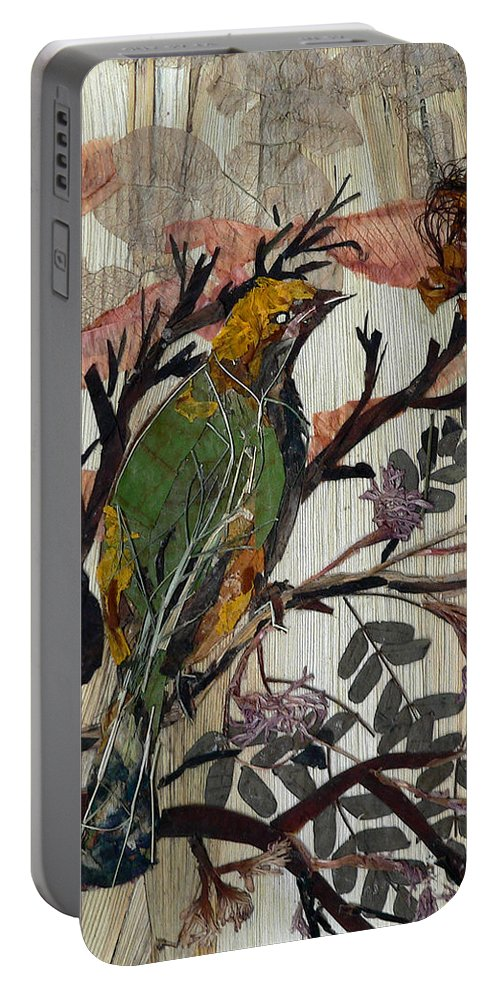 Green Bird Portable Battery Charger featuring the mixed media Green-yellow Bird by Basant Soni