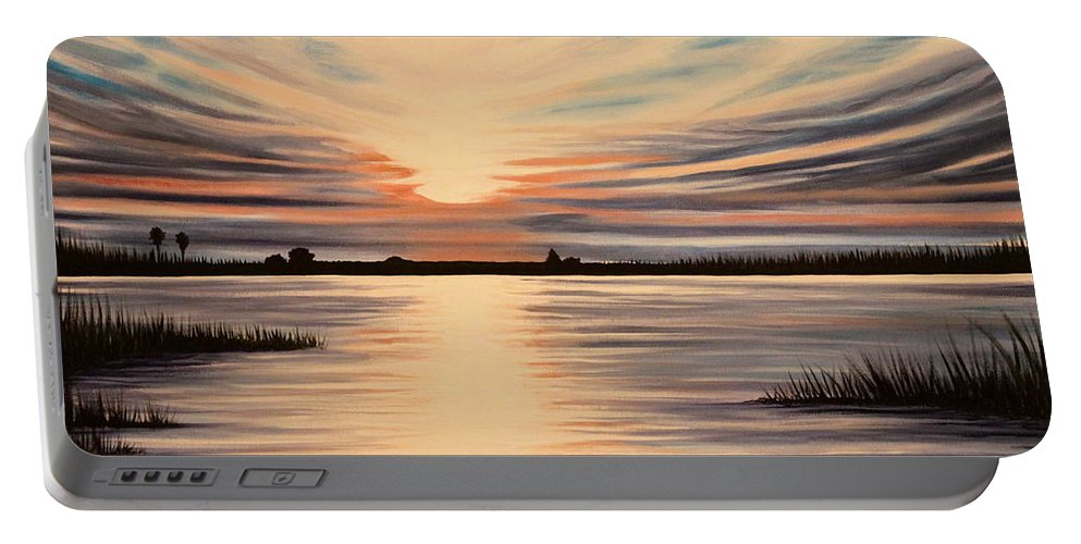 Sunset Portable Battery Charger featuring the painting Highlights Of A Sunset by Elizabeth Robinette Tyndall