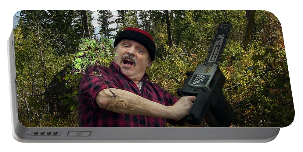 Surrealism Fantastic+realism Cloning Parasites Lumberjack Chainsaw Selfportrait Portable Battery Charger featuring the digital art I Am A Lumberjack I Am Ok by Otto Rapp
