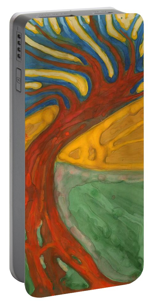 Colour Portable Battery Charger featuring the painting I Would Like To Be Me by Wojtek Kowalski